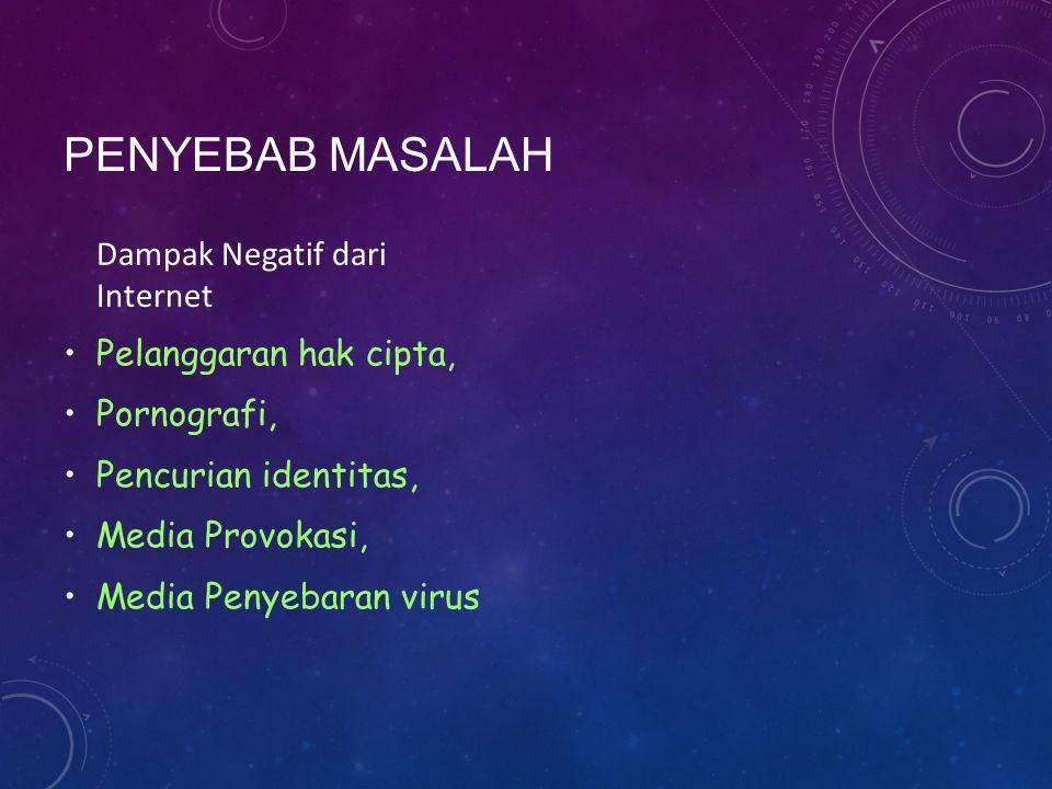 PENYEBAB MASALAH Dampak Negatif dari Internet Pelanggaran hak cipta, Pornografi, Pencurian identitas, Media Provokasi, Media Penyebaran virus