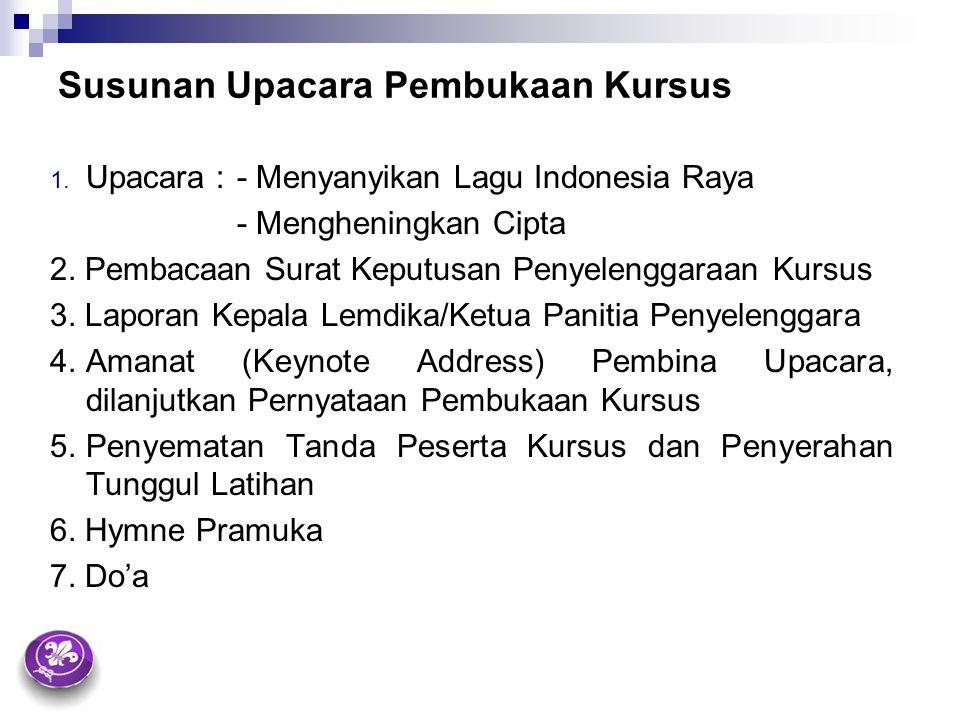 Susunan Upacara Pembukaan Kursus 1. Upacara : - Menyanyikan Lagu Indonesia Raya - Mengheningkan Cipta 2. Pembacaan Surat Keputusan Penyelenggaraan Kur