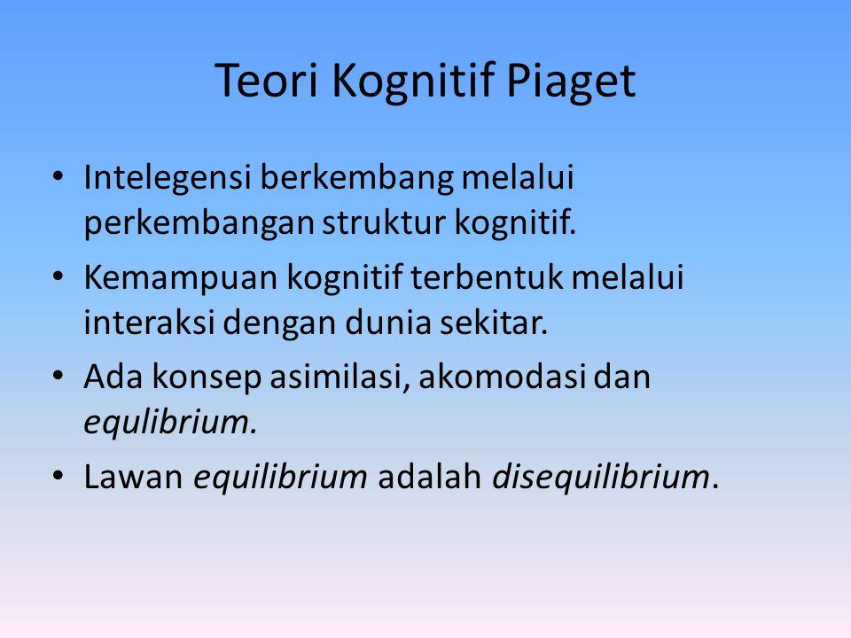 Teori Kognitif Piaget Intelegensi berkembang melalui perkembangan struktur kognitif. Kemampuan kognitif terbentuk melalui interaksi dengan dunia sekit