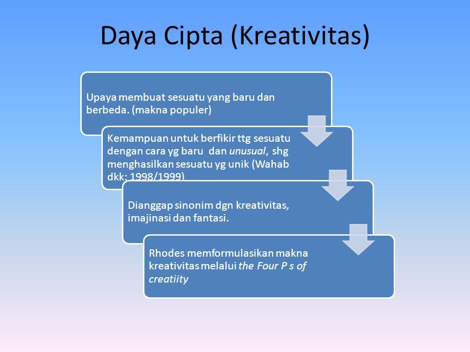 Daya Cipta (Kreativitas) Upaya membuat sesuatu yang baru dan berbeda. (makna populer) Kemampuan untuk berfikir ttg sesuatu dengan cara yg baru dan unu