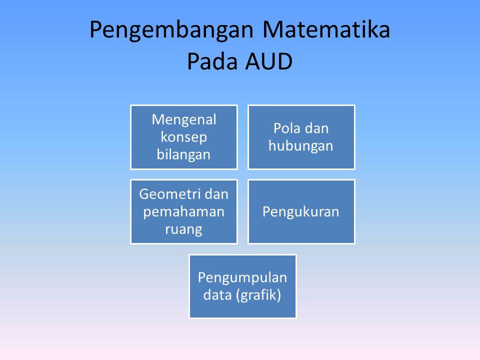 Pengembangan Matematika Pada AUD Mengenal konsep bilangan Pola dan hubungan Geometri dan pemahaman ruang Pengukuran Pengumpulan data (grafik)