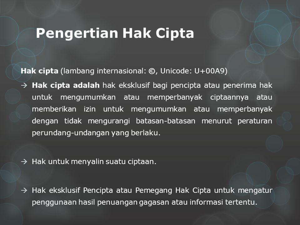 Pengertian Hak Cipta Hak cipta (lambang internasional: ©, Unicode: U+00A9)  Hak cipta adalah hak eksklusif bagi pencipta atau penerima hak untuk mengumumkan atau memperbanyak ciptaannya atau memberikan izin untuk mengumumkan atau memperbanyak dengan tidak mengurangi batasan-batasan menurut peraturan perundang-undangan yang berlaku.