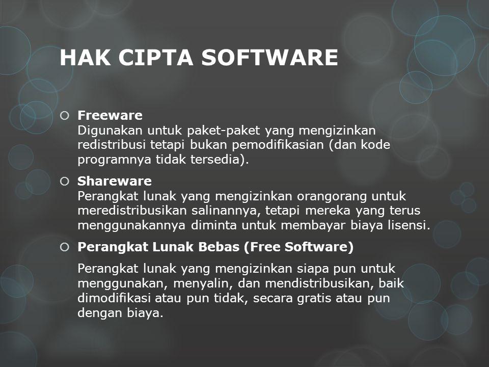 HAK CIPTA SOFTWARE  Freeware Digunakan untuk paket-paket yang mengizinkan redistribusi tetapi bukan pemodifikasian (dan kode programnya tidak tersedi