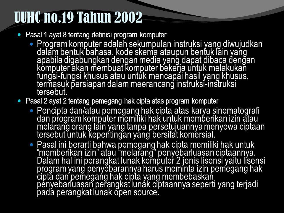 UUHC no.19 Tahun 2002 Pasal 1 ayat 8 tentang definisi program komputer Program komputer adalah sekumpulan instruksi yang diwujudkan dalam bentuk bahas
