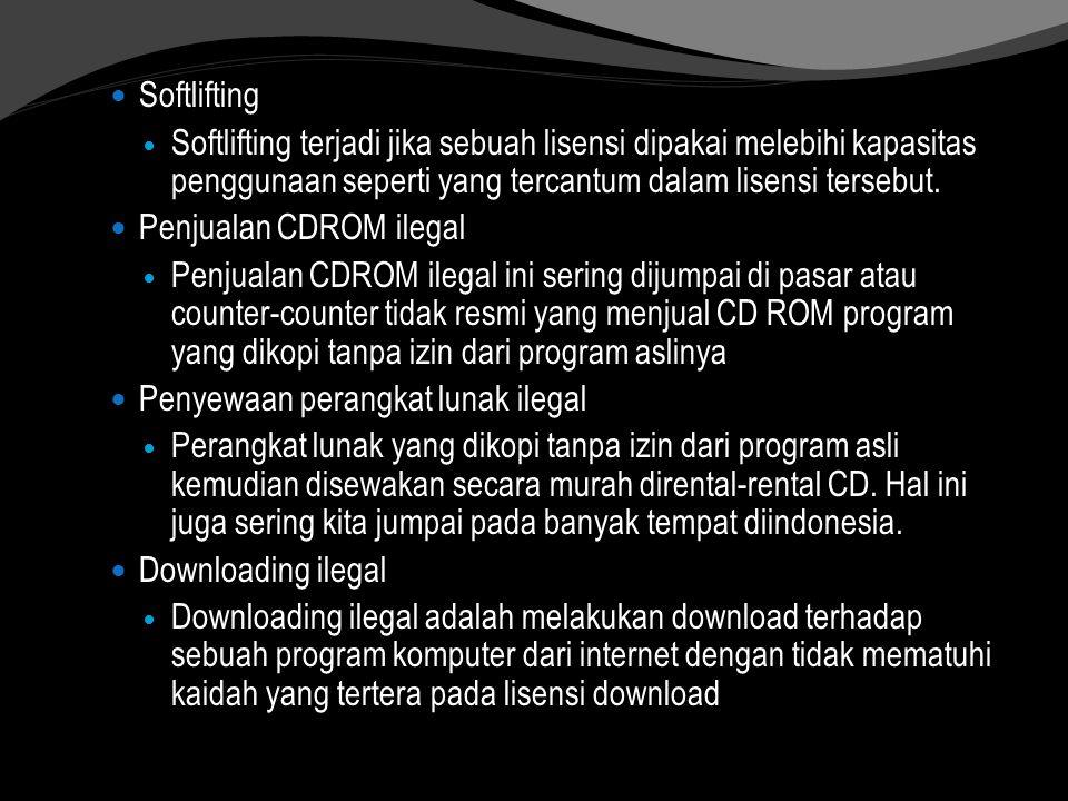 Softlifting Softlifting terjadi jika sebuah lisensi dipakai melebihi kapasitas penggunaan seperti yang tercantum dalam lisensi tersebut. Penjualan CDR