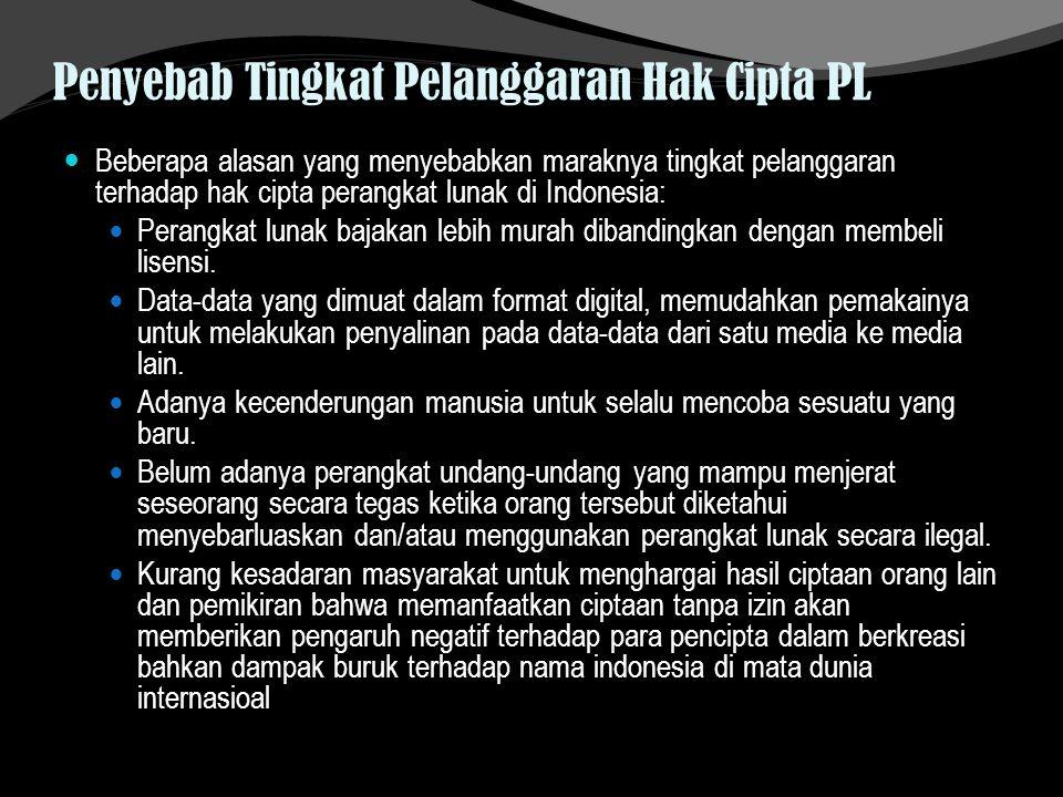 Penyebab Tingkat Pelanggaran Hak Cipta PL Beberapa alasan yang menyebabkan maraknya tingkat pelanggaran terhadap hak cipta perangkat lunak di Indonesi