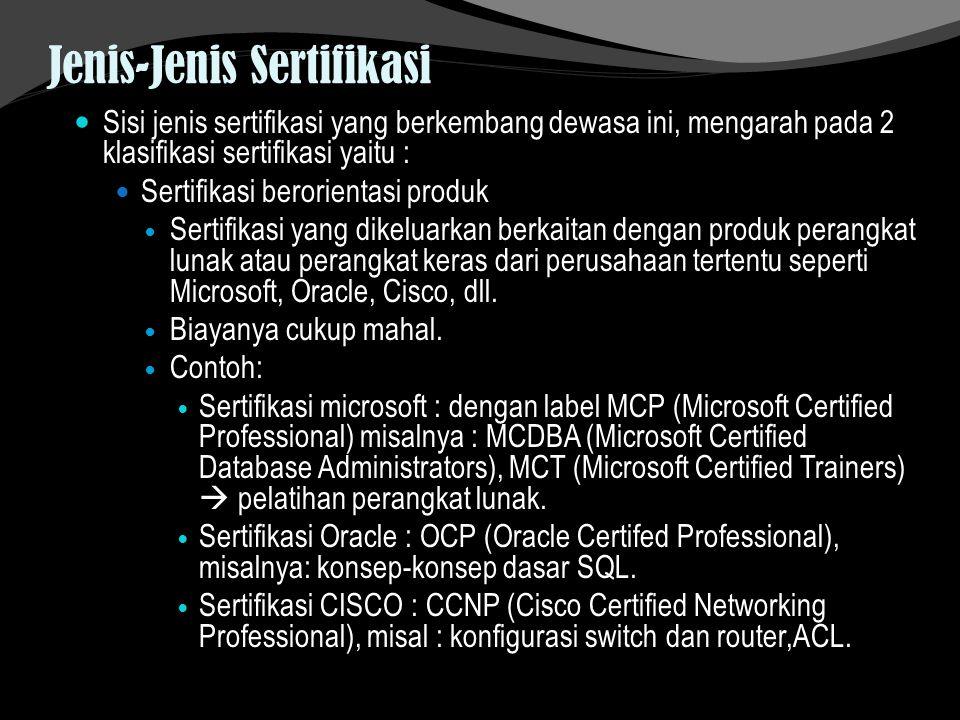 Jenis-Jenis Sertifikasi Sisi jenis sertifikasi yang berkembang dewasa ini, mengarah pada 2 klasifikasi sertifikasi yaitu : Sertifikasi berorientasi pr