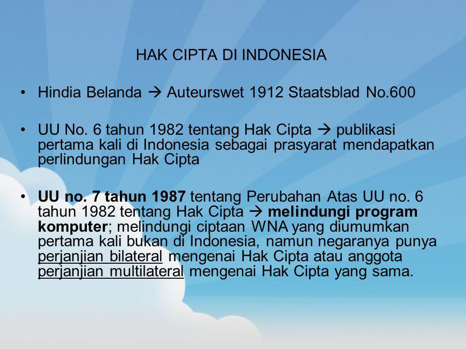 HAK CIPTA DI INDONESIA Hindia Belanda  Auteurswet 1912 Staatsblad No.600 UU No. 6 tahun 1982 tentang Hak Cipta  publikasi pertama kali di Indonesia
