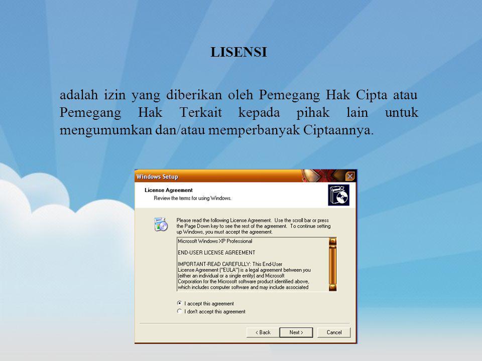 LISENSI adalah izin yang diberikan oleh Pemegang Hak Cipta atau Pemegang Hak Terkait kepada pihak lain untuk mengumumkan dan/atau memperbanyak Ciptaan