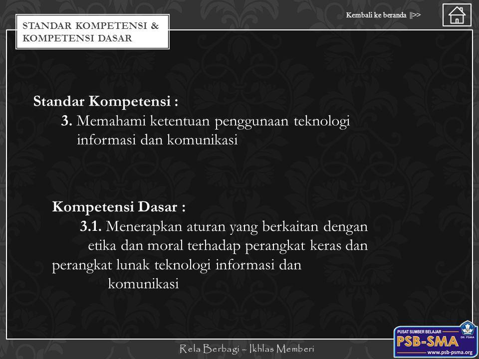 Standar Kompetensi / Kompetensi Dasar Kembali ke beranda   >> STANDAR KOMPETENSI & KOMPETENSI DASAR Standar Kompetensi : 3. Memahami ketentuan penggun