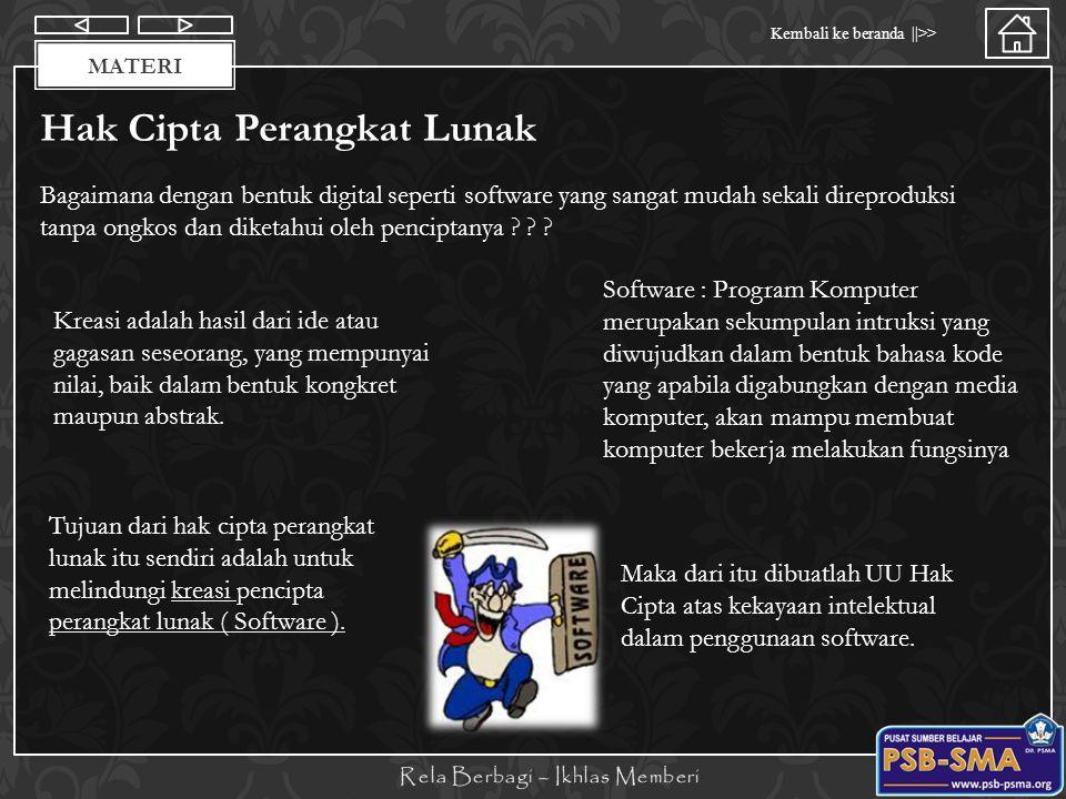 Materi Kembali ke beranda   >> MATERI UNDANG-UNDANG HAK CIPTA Dalam melindungi karya yang telah diciptakan oleh seseorang dari berbagai ancaman pelanggaran yang berupa pemalsuan, penggandaan, penyiaran, pemameran, pengedaran atau penjualan hasil hak cipta maka pemerintah Republik Indonesia pernah meliliki undang- undang No 6 tahun 1982 tentang hak cipta sebagaimana diubah dengan Undang-undang No 7 tahun 1987 diubah dengan Undang-undang No 12 Tahun 1997 dan yang terakhir UU No.