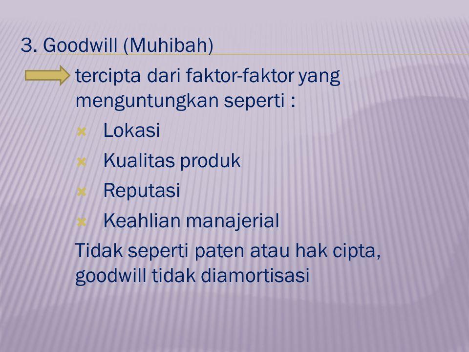 3. Goodwill (Muhibah) tercipta dari faktor-faktor yang menguntungkan seperti :  Lokasi  Kualitas produk  Reputasi  Keahlian manajerial Tidak seper