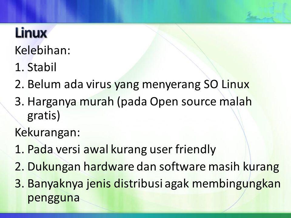 Kelebihan: 1. Stabil 2. Belum ada virus yang menyerang SO Linux 3. Harganya murah (pada Open source malah gratis) Kekurangan: 1. Pada versi awal kuran