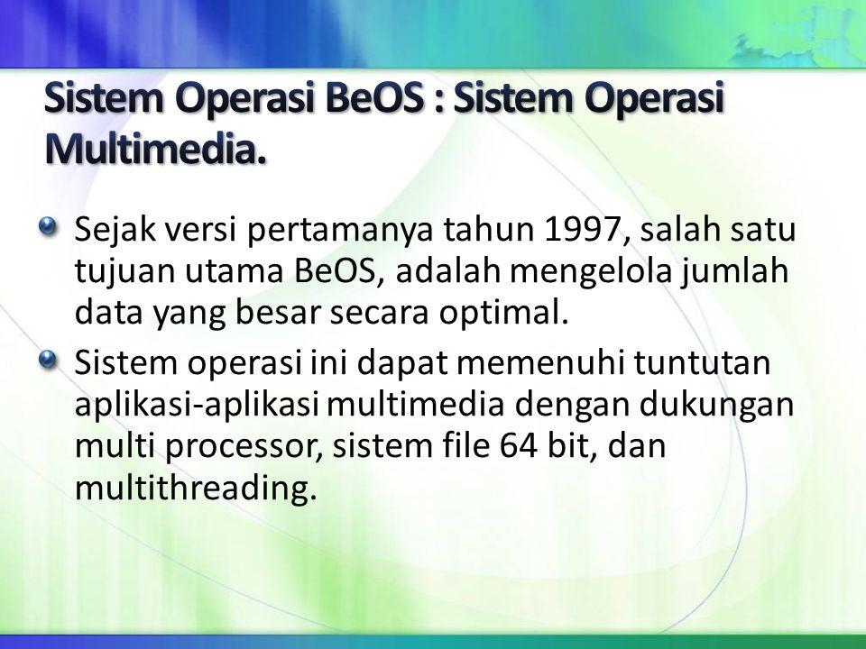 Sejak versi pertamanya tahun 1997, salah satu tujuan utama BeOS, adalah mengelola jumlah data yang besar secara optimal. Sistem operasi ini dapat meme