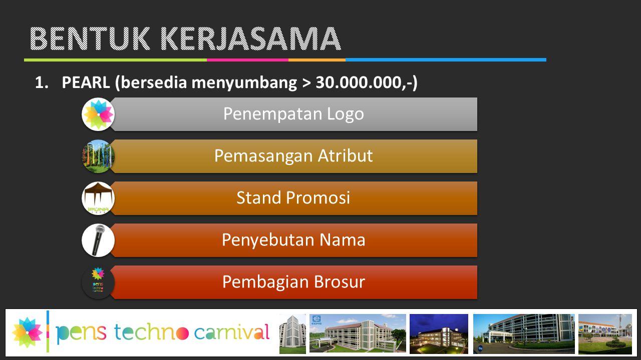 1.PEARL (bersedia menyumbang > 30.000.000,-) Penempatan Logo Pemasangan Atribut Stand Promosi Penyebutan Nama Pembagian Brosur
