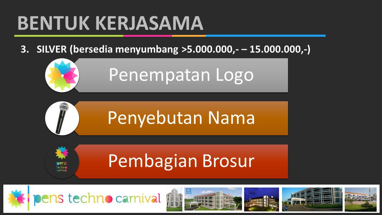 3.SILVER (bersedia menyumbang >5.000.000,- – 15.000.000,-) Penempatan Logo Penyebutan Nama Pembagian Brosur