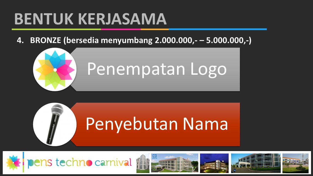 4.BRONZE (bersedia menyumbang 2.000.000,- – 5.000.000,-) Penempatan Logo Penyebutan Nama