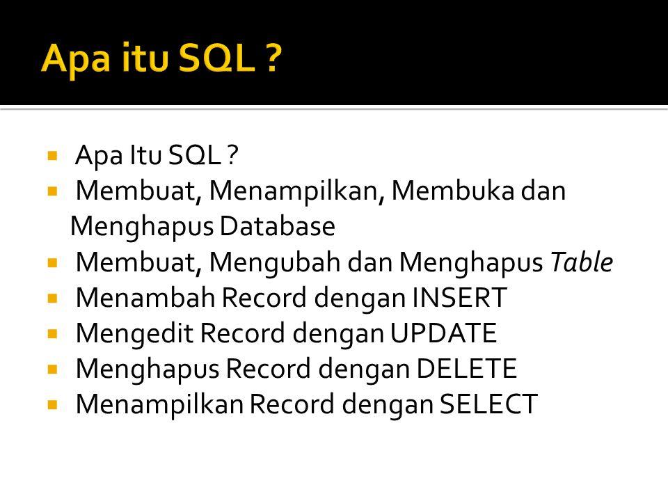  Apa Itu SQL ?  Membuat, Menampilkan, Membuka dan Menghapus Database  Membuat, Mengubah dan Menghapus Table  Menambah Record dengan INSERT  Menge