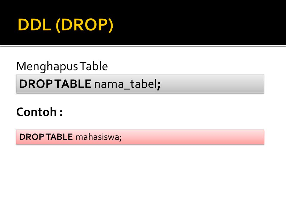 Menghapus Table Contoh : DROP TABLE nama_tabel; DROP TABLE mahasiswa;