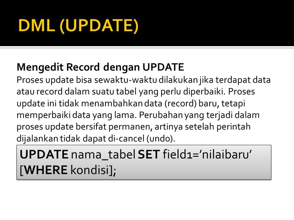 Mengedit Record dengan UPDATE Proses update bisa sewaktu-waktu dilakukan jika terdapat data atau record dalam suatu tabel yang perlu diperbaiki. Prose