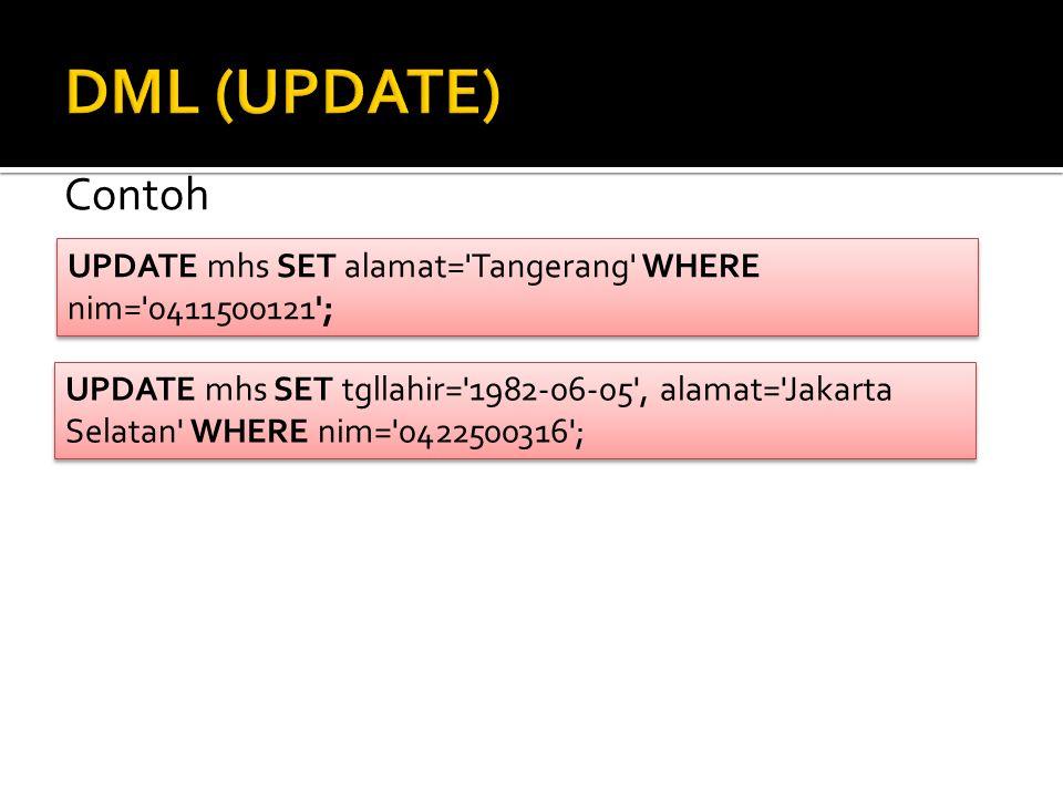 Contoh UPDATE mhs SET alamat='Tangerang' WHERE nim='0411500121'; UPDATE mhs SET alamat='Tangerang' WHERE nim='0411500121'; UPDATE mhs SET tgllahir='19