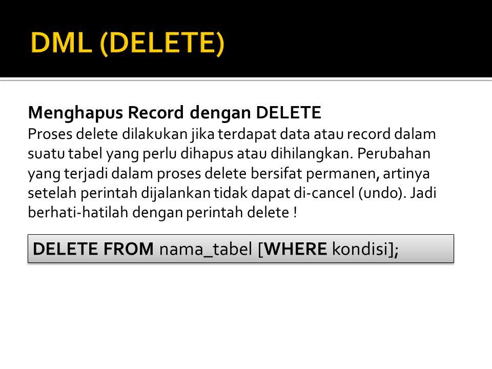 Menghapus Record dengan DELETE Proses delete dilakukan jika terdapat data atau record dalam suatu tabel yang perlu dihapus atau dihilangkan. Perubahan