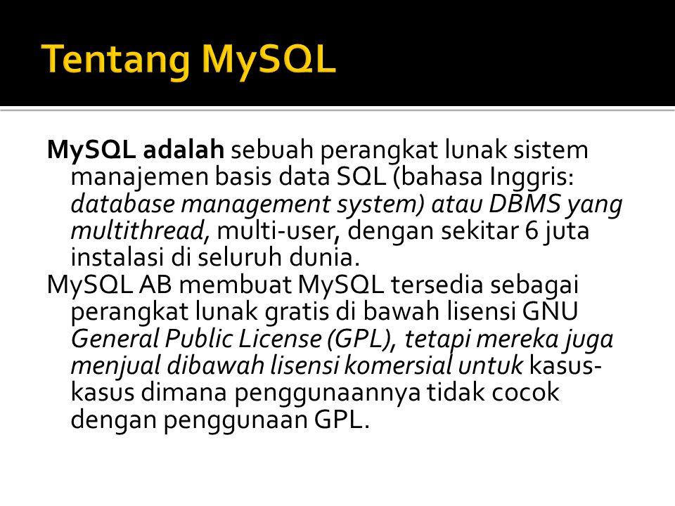 Tidak seperti Apache yang merupakan software yang dikembangkan oleh komunitas umum, dan hak cipta untuk kode sumber dimiliki oleh penulisnya masing-masing, MySQL dimiliki dan disponsori oleh sebuah perusahaan komersial Swedia yaitu MySQL AB.