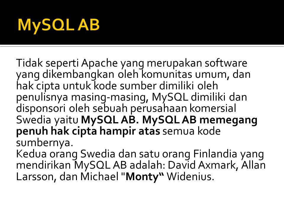 Beberapa kelebihan MySQL antara lain :  Free (bebas didownload)  Stabil dan tangguh  Fleksibel dengan berbagai pemrograman  Security yang baik  Dukungan dari banyak komunitas  Kemudahan management database.