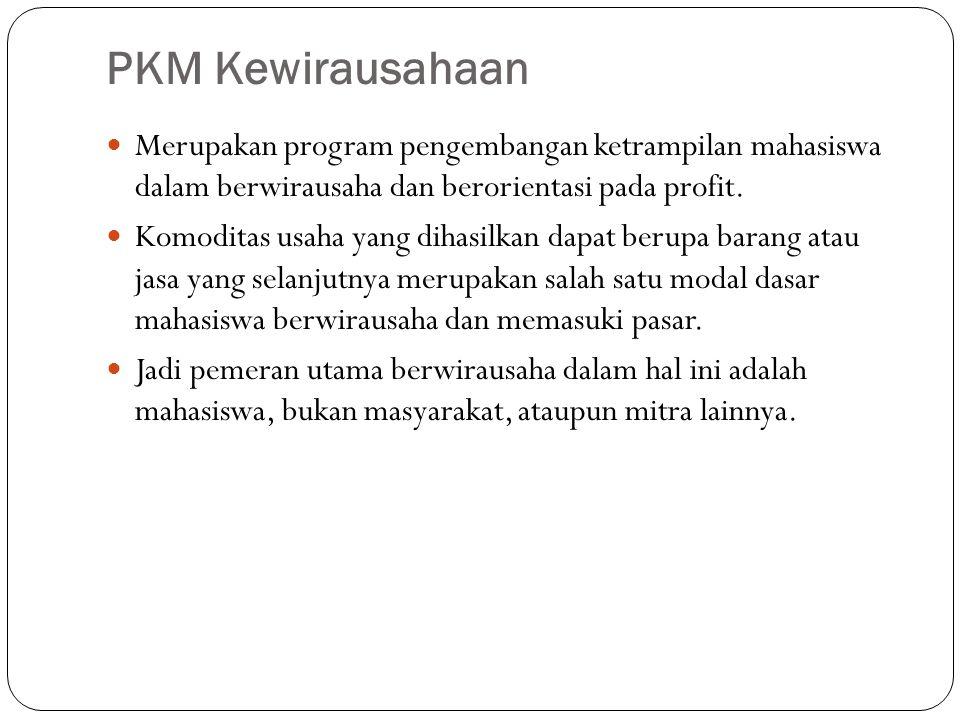 PKM Kewirausahaan Merupakan program pengembangan ketrampilan mahasiswa dalam berwirausaha dan berorientasi pada profit. Komoditas usaha yang dihasilka