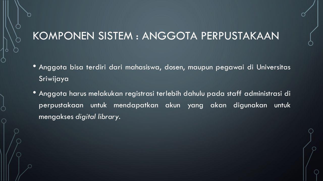 KOMPONEN SISTEM : KOLEKSI Koleksi dapat berupa buku, karyasiswa, jurnal, hasil penelitian, dan lain-lain.