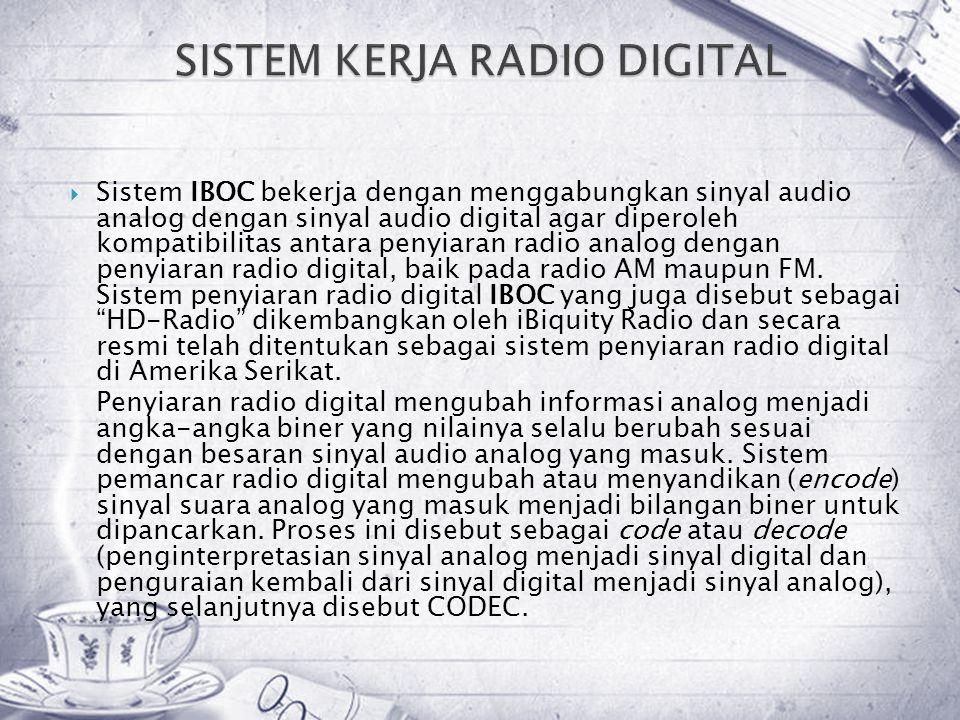  Sistem IBOC bekerja dengan menggabungkan sinyal audio analog dengan sinyal audio digital agar diperoleh kompatibilitas antara penyiaran radio analog dengan penyiaran radio digital, baik pada radio AM maupun FM.