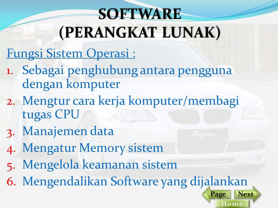 Fungsi Sistem Operasi : 1. Sebagai penghubung antara pengguna dengan komputer 2. Mengtur cara kerja komputer/membagi tugas CPU 3. Manajemen data 4. Me