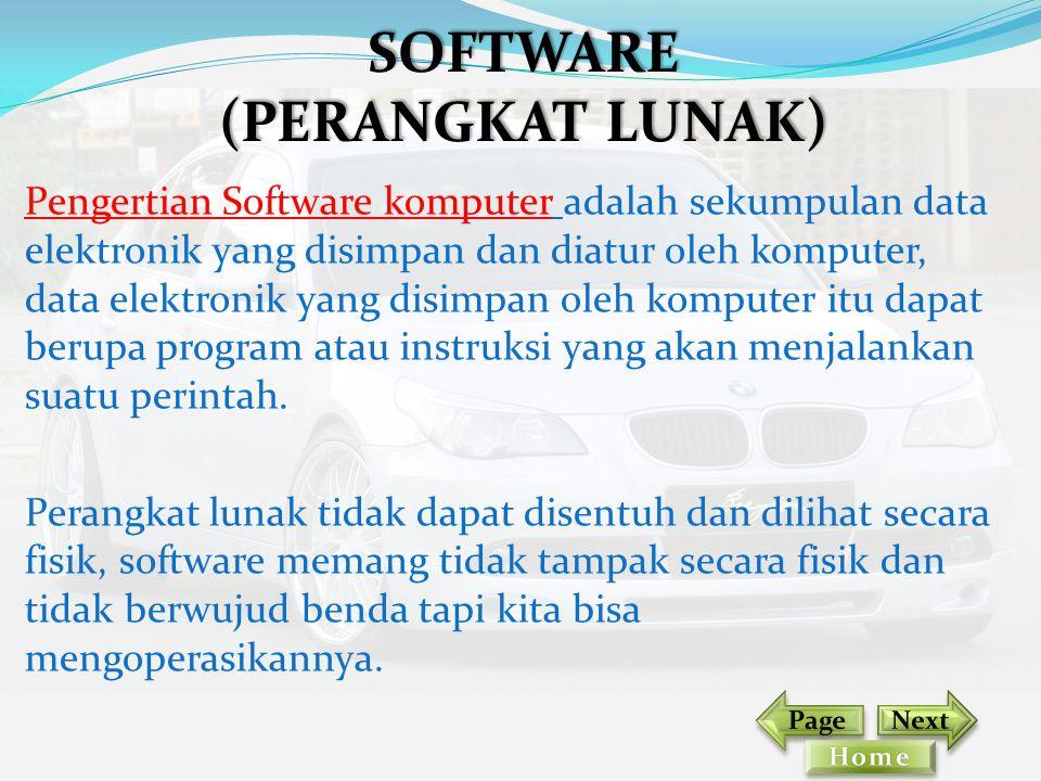 Pengertian Software komputer adalah sekumpulan data elektronik yang disimpan dan diatur oleh komputer, data elektronik yang disimpan oleh komputer itu