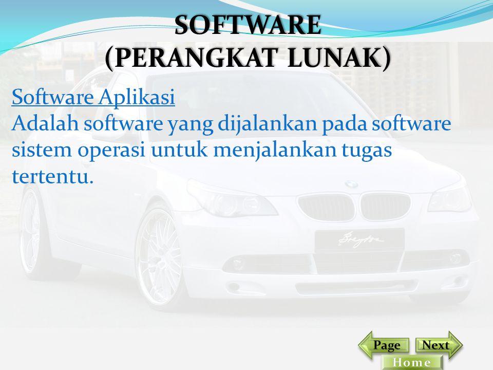 Software Aplikasi Adalah software yang dijalankan pada software sistem operasi untuk menjalankan tugas tertentu. SOFTWARE (PERANGKAT LUNAK)