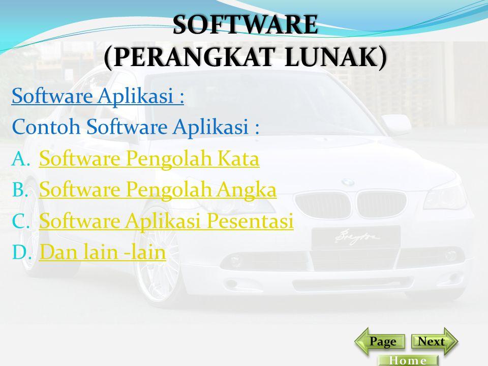 Software Aplikasi : Contoh Software Aplikasi : A. Software Pengolah Kata Software Pengolah Kata B. Software Pengolah Angka Software Pengolah Angka C.