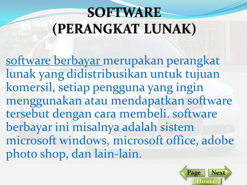 software berbayar merupakan perangkat lunak yang didistribusikan untuk tujuan komersil, setiap pengguna yang ingin menggunakan atau mendapatkan softwa