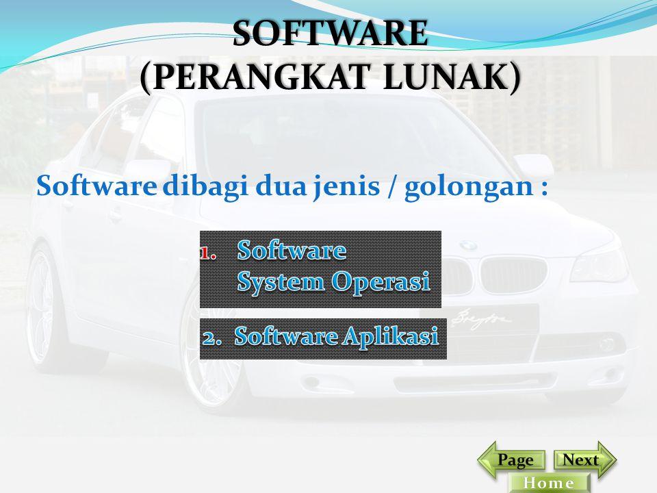 Software dibagi dua jenis / golongan : SOFTWARE (PERANGKAT LUNAK)