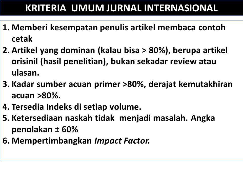 KRITERIA UMUM JURNAL INTERNASIONAL 1.Memberi kesempatan penulis artikel membaca contoh cetak 2.Artikel yang dominan (kalau bisa > 80%), berupa artikel