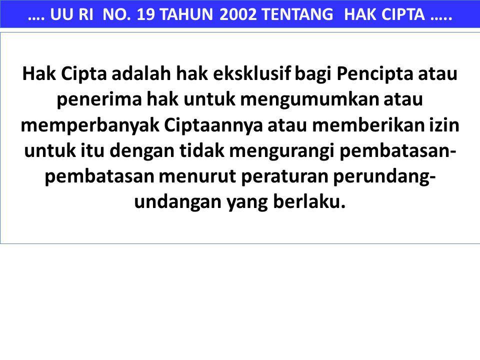 …. UU RI NO. 19 TAHUN 2002 TENTANG HAK CIPTA ….. Hak Cipta adalah hak eksklusif bagi Pencipta atau penerima hak untuk mengumumkan atau memperbanyak Ci