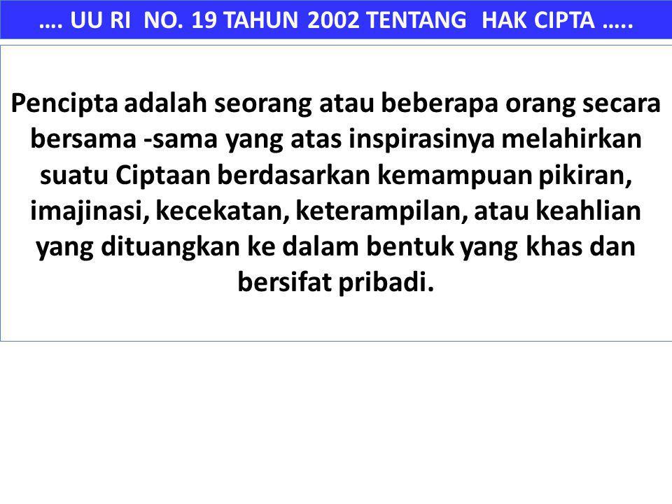 …. UU RI NO. 19 TAHUN 2002 TENTANG HAK CIPTA ….. Pencipta adalah seorang atau beberapa orang secara bersama -sama yang atas inspirasinya melahirkan su