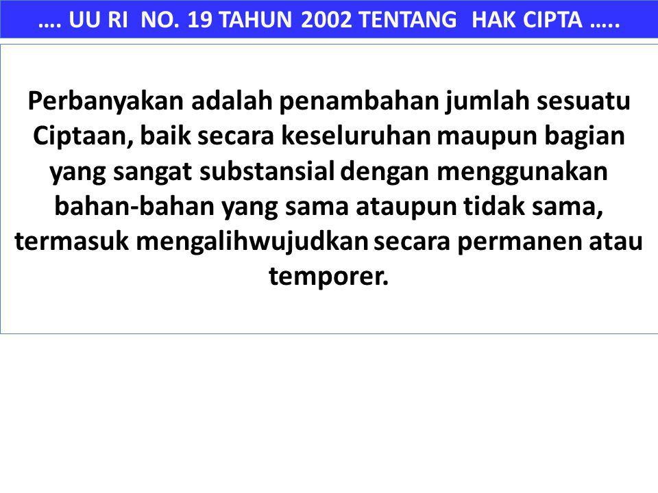 …. UU RI NO. 19 TAHUN 2002 TENTANG HAK CIPTA ….. Perbanyakan adalah penambahan jumlah sesuatu Ciptaan, baik secara keseluruhan maupun bagian yang sang