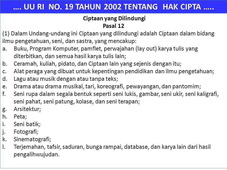 …. UU RI NO. 19 TAHUN 2002 TENTANG HAK CIPTA ….. Ciptaan yang Dilindungi Pasal 12 (1) Dalam Undang-undang ini Ciptaan yang dilindungi adalah Ciptaan d