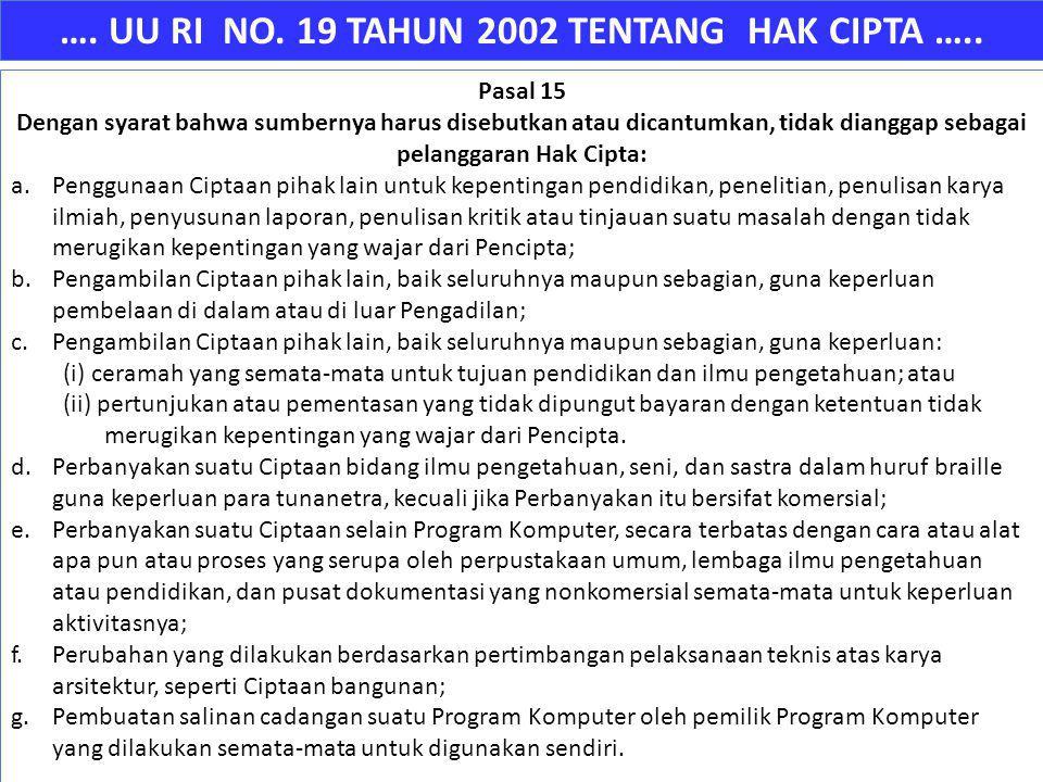 …. UU RI NO. 19 TAHUN 2002 TENTANG HAK CIPTA ….. Pasal 15 Dengan syarat bahwa sumbernya harus disebutkan atau dicantumkan, tidak dianggap sebagai pela