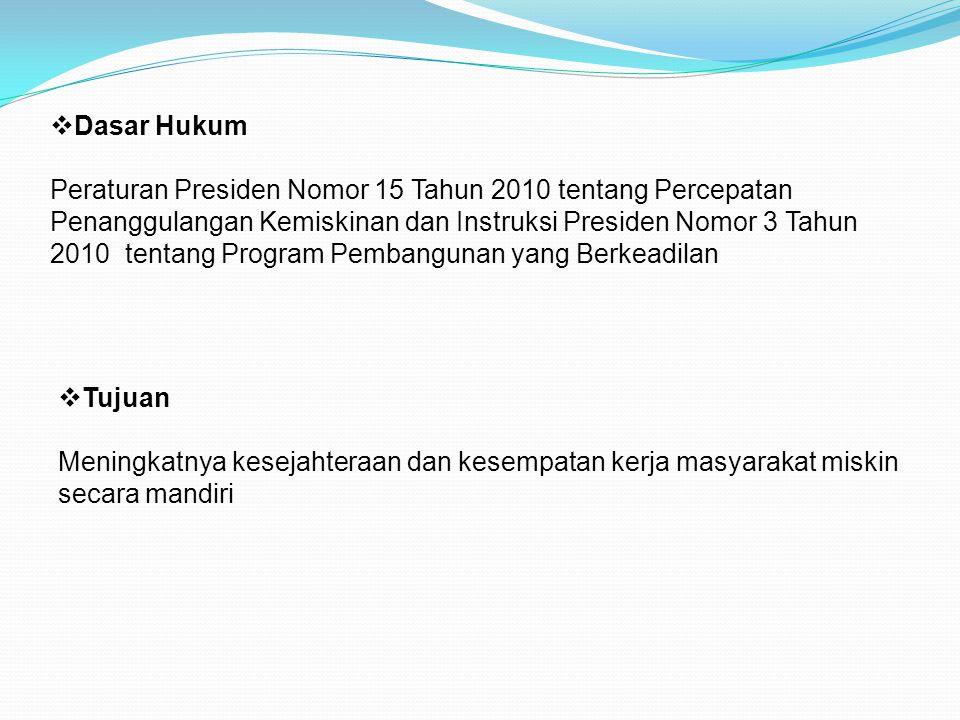  Tujuan Meningkatnya kesejahteraan dan kesempatan kerja masyarakat miskin secara mandiri  Dasar Hukum Peraturan Presiden Nomor 15 Tahun 2010 tentang