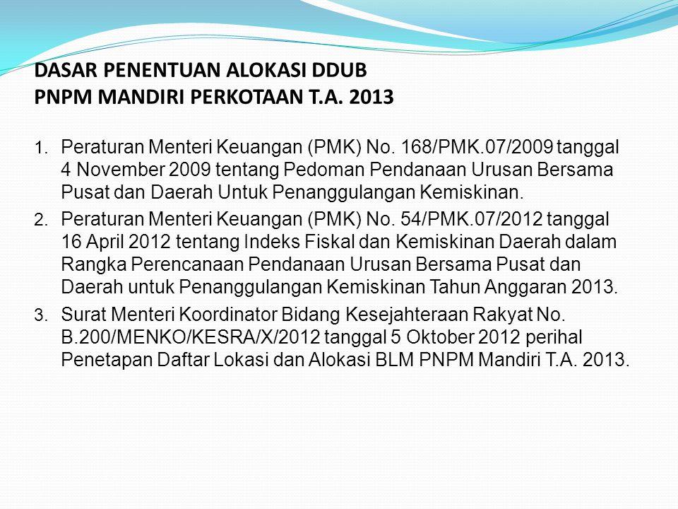 DASAR PENENTUAN ALOKASI DDUB PNPM MANDIRI PERKOTAAN T.A. 2013 1. Peraturan Menteri Keuangan (PMK) No. 168/PMK.07/2009 tanggal 4 November 2009 tentang