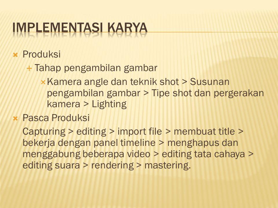  Produksi  Tahap pengambilan gambar  Kamera angle dan teknik shot > Susunan pengambilan gambar > Tipe shot dan pergerakan kamera > Lighting  Pasca
