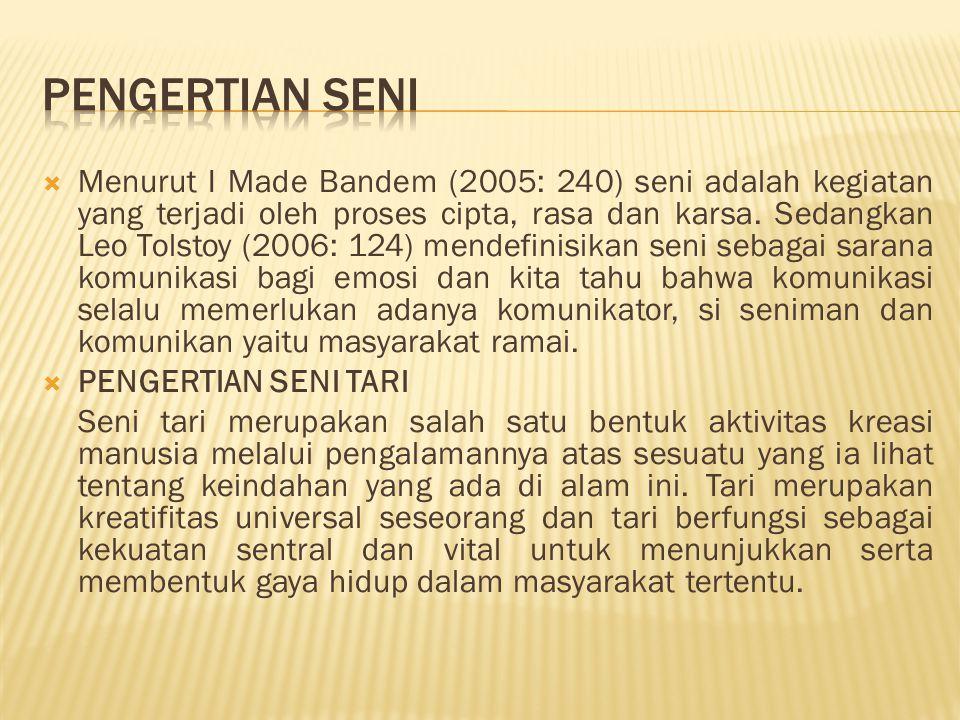  Menurut I Made Bandem (2005: 240) seni adalah kegiatan yang terjadi oleh proses cipta, rasa dan karsa. Sedangkan Leo Tolstoy (2006: 124) mendefinisi