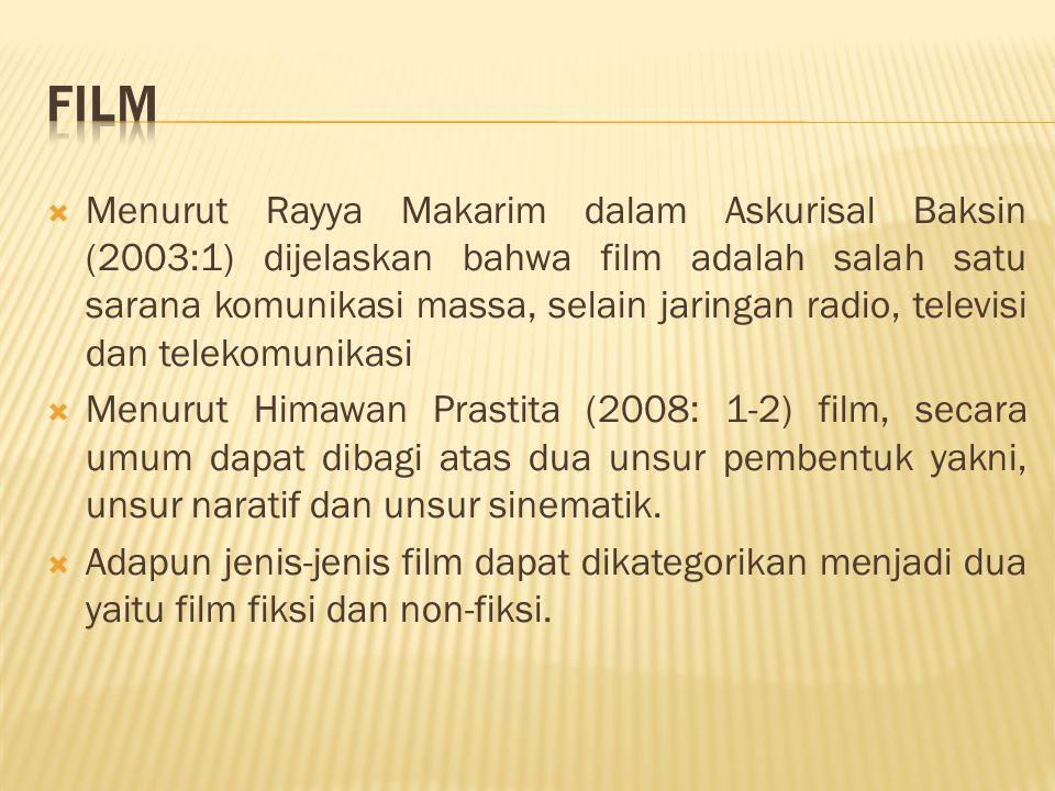  Menurut Rayya Makarim dalam Askurisal Baksin (2003:1) dijelaskan bahwa film adalah salah satu sarana komunikasi massa, selain jaringan radio, televi