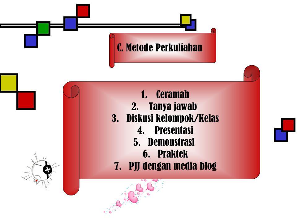 C.Metode Perkuliahan 1.Ceramah 2. Tanya jawab 3.Diskusi kelompok/Kelas 4.