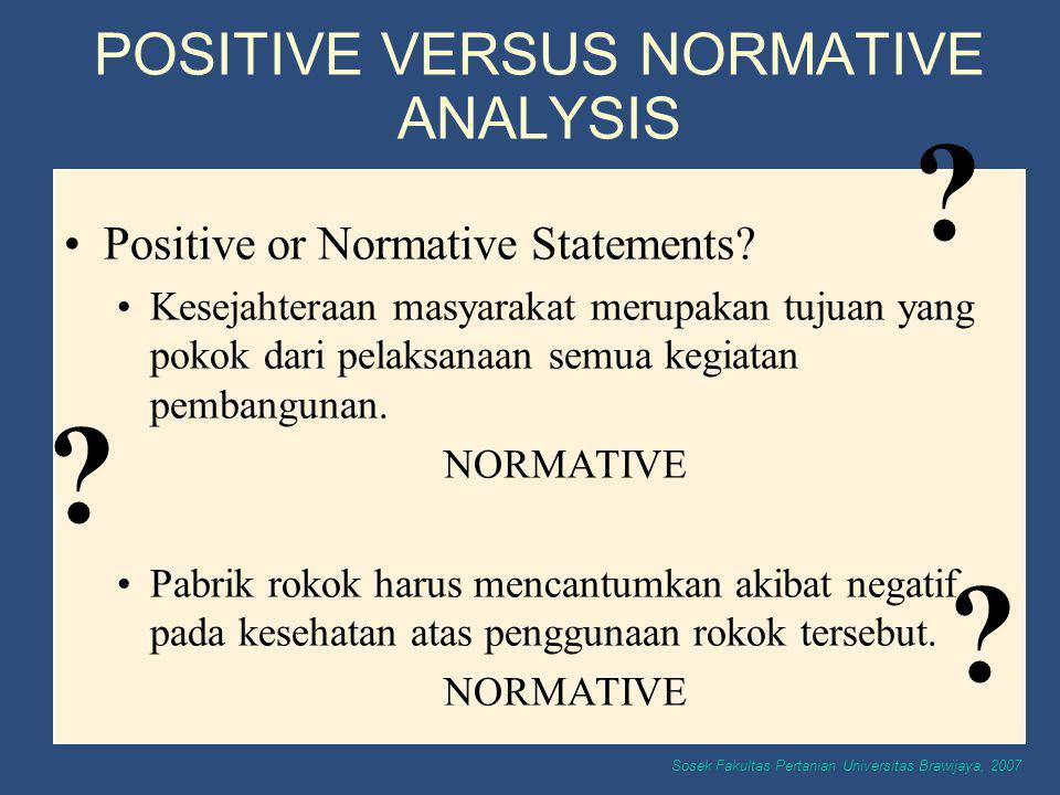 Sosek Fakultas Pertanian Universitas Brawijaya, 2007 Positive or Normative Statements? Kesejahteraan masyarakat merupakan tujuan yang pokok dari pelak